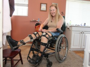** One time use National Post for June 2, 2015 Edition online and print ñ National Post only -  No Postmedia use **  Local Input~ Image #: 23289637    ***EXCLUSIVE***  SALT LAKE CITY, UT - MAY 16: Chloe Jennings-White adjusting her leg braces at her home on May 16, 2013 in Salt Lake City, Utah.  Chloe-Jennings White wears leg braces and uses a wheelchair, even though her legs work fine, and she does not need them. The 58-year-old has chosen to live her life as a disabled person, due to rare condition called Body Integrity Identity Disorder, or BIID. BIID is thought to be caused by a neurological failing, which causes the brain not to recognise a limb or limbs. Chloe, a research scientist, bandaged herself secretly for years, but now she lives openly with her condition, using a wheelchair most of time, apart from when she wants to enjoy her hobbies such as hill-walking and skiing. Chloe admits she skis because she hopes to have an accident to damage both her legs. She sometimes even dreams about having a car crash. Now Chloe, who lives in Salt Lake City, Utah, but is originally from London, is also trying to find a surgeon willing to sever her spine in order to make her paralysed for real.     Laurentiu Garofeanu/Barcroft Media /Landov ORG XMIT: 01461656 0602 na trans-able ** One time use National Post for June 2, 2015 Edition online and print ñ National Post only -  No Postmedia use **